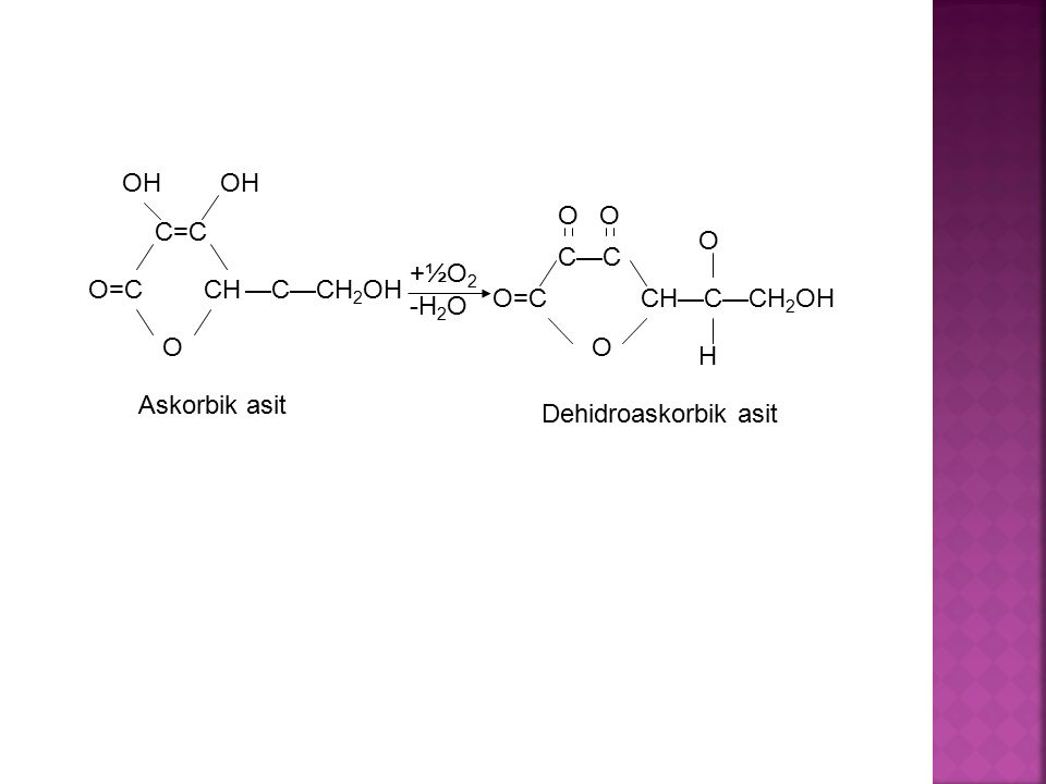 O=C C=C OH CH O —C—CH 2 OH +½O2+½O2 -H 2 O O=C C—C CH—C—CH 2 OH OO O O H Askorbik asit Dehidroaskorbik asit