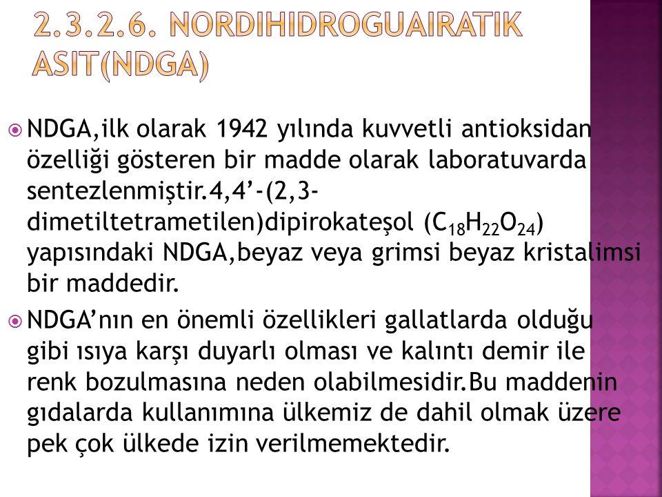  NDGA,ilk olarak 1942 yılında kuvvetli antioksidan özelliği gösteren bir madde olarak laboratuvarda sentezlenmiştir.4,4'-(2,3- dimetiltetrametilen)di
