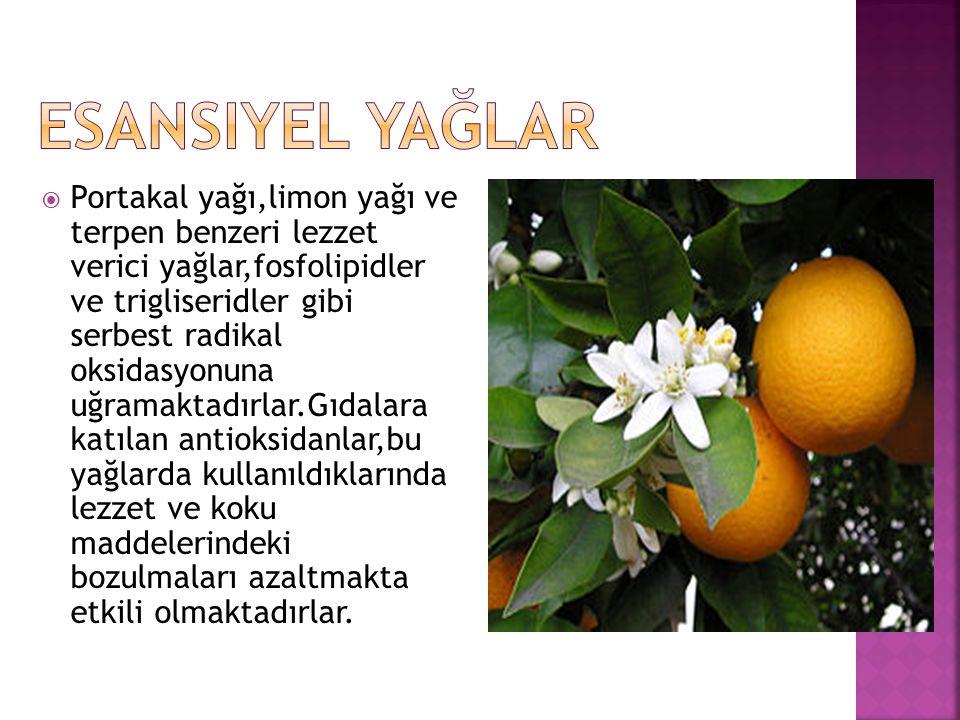  Portakal yağı,limon yağı ve terpen benzeri lezzet verici yağlar,fosfolipidler ve trigliseridler gibi serbest radikal oksidasyonuna uğramaktadırlar.G