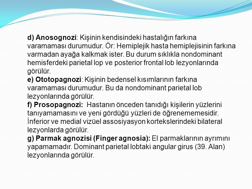 d) Anosognozi: Kişinin kendisindeki hastalığın farkına varamaması durumudur. Ör: Hemiplejik hasta hemiplejisinin farkına varmadan ayağa kalkmak ister.