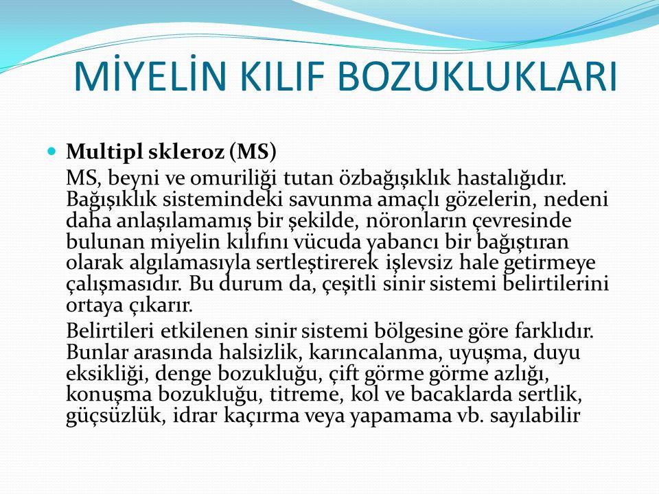 MİYELİN KILIF BOZUKLUKLARI Multipl skleroz (MS) MS, beyni ve omuriliği tutan özbağışıklık hastalığıdır. Bağışıklık sistemindeki savunma amaçlı gözeler