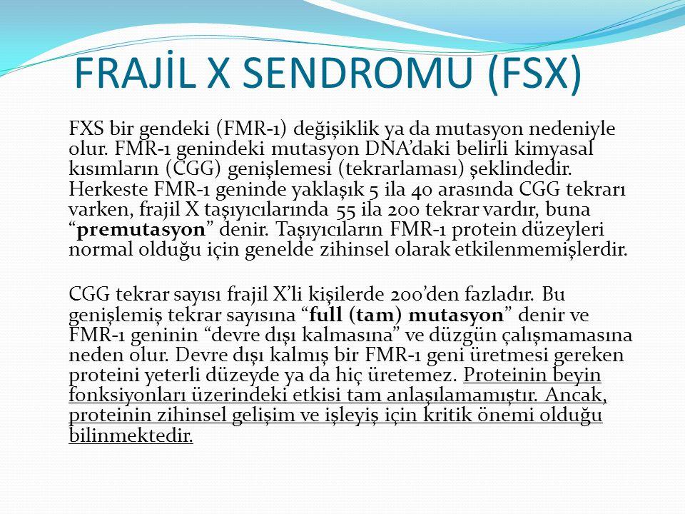 FRAJİL X SENDROMU (FSX) FXS bir gendeki (FMR-1) değişiklik ya da mutasyon nedeniyle olur. FMR-1 genindeki mutasyon DNA'daki belirli kimyasal kısımları