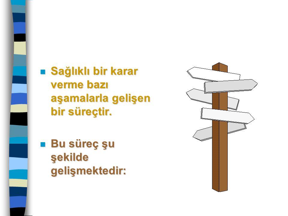 n Sağlıklı bir karar verme bazı aşamalarla gelişen bir süreçtir. n Bu süreç şu şekilde gelişmektedir: