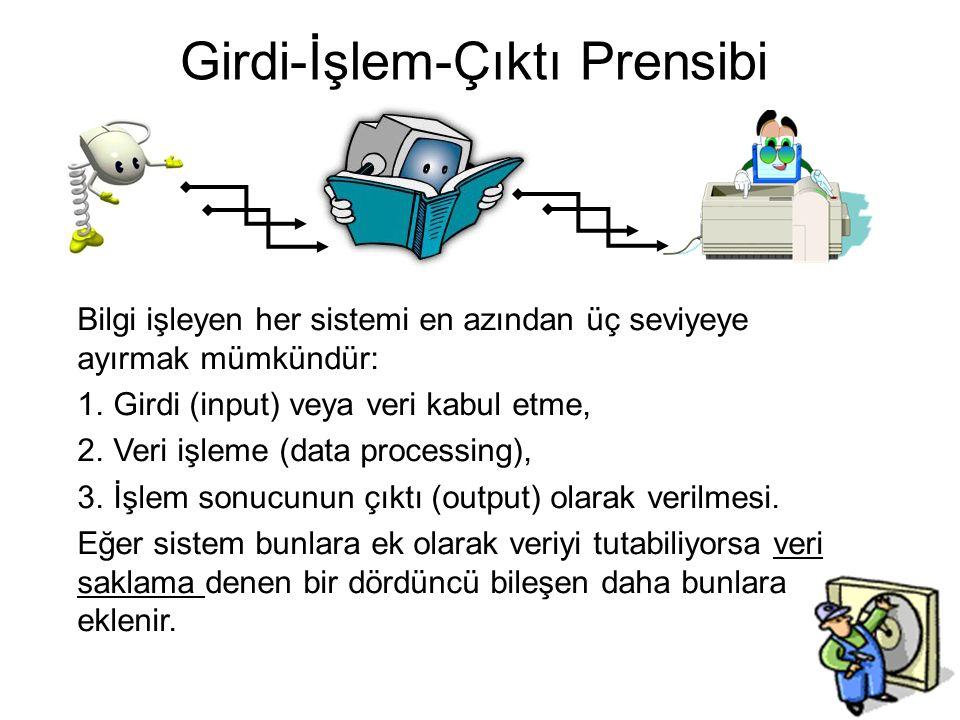 Bilgi işleyen her sistemi en azından üç seviyeye ayırmak mümkündür: 1.Girdi (input) veya veri kabul etme, 2.Veri işleme (data processing), 3.İşlem sonucunun çıktı (output) olarak verilmesi.