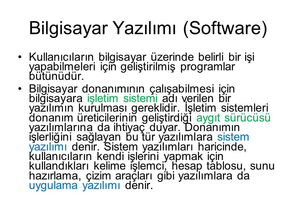 Bilgisayar Yazılımı (Software) Kullanıcıların bilgisayar üzerinde belirli bir işi yapabilmeleri için geliştirilmiş programlar bütünüdür.