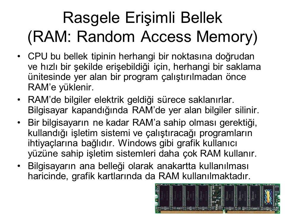 Rasgele Erişimli Bellek (RAM: Random Access Memory) CPU bu bellek tipinin herhangi bir noktasına doğrudan ve hızlı bir şekilde erişebildiği için, herhangi bir saklama ünitesinde yer alan bir program çalıştırılmadan önce RAM'e yüklenir.