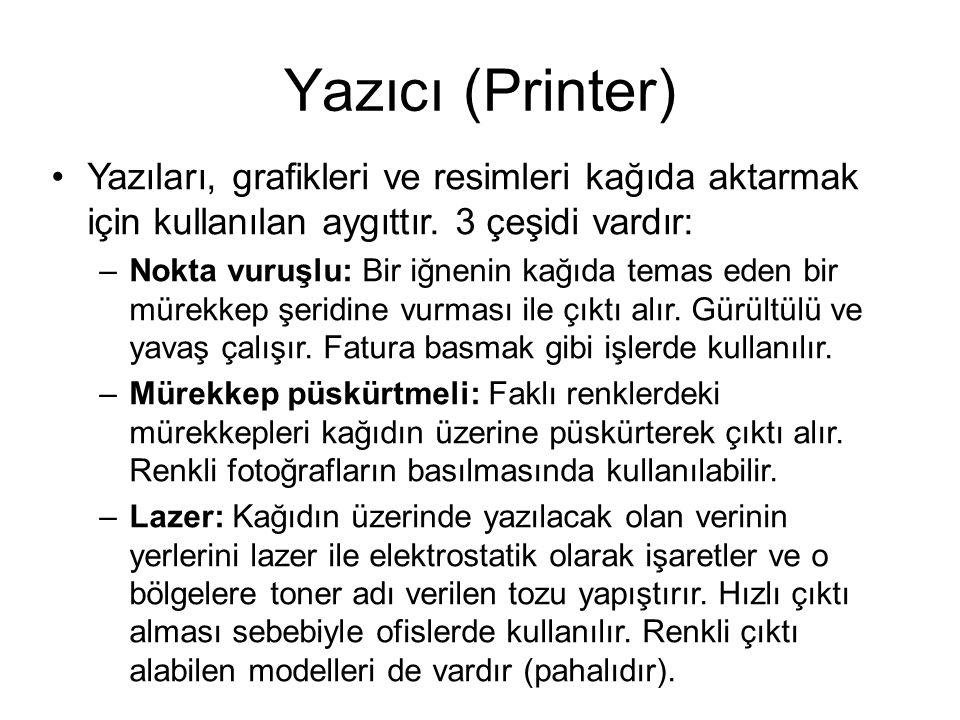 Yazıcı (Printer) Yazıları, grafikleri ve resimleri kağıda aktarmak için kullanılan aygıttır.
