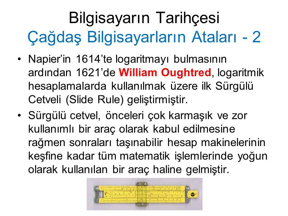 Bilgisayarın Tarihçesi Çağdaş Bilgisayarların Ataları - 2 Napier'in 1614'te logaritmayı bulmasının ardından 1621'de William Oughtred, logaritmik hesaplamalarda kullanılmak üzere ilk Sürgülü Cetveli (Slide Rule) geliştirmiştir.