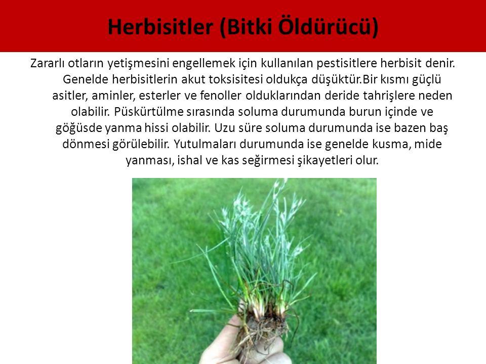 Herbisitler (Bitki Öldürücü) Zararlı otların yetişmesini engellemek için kullanılan pestisitlere herbisit denir. Genelde herbisitlerin akut toksisites