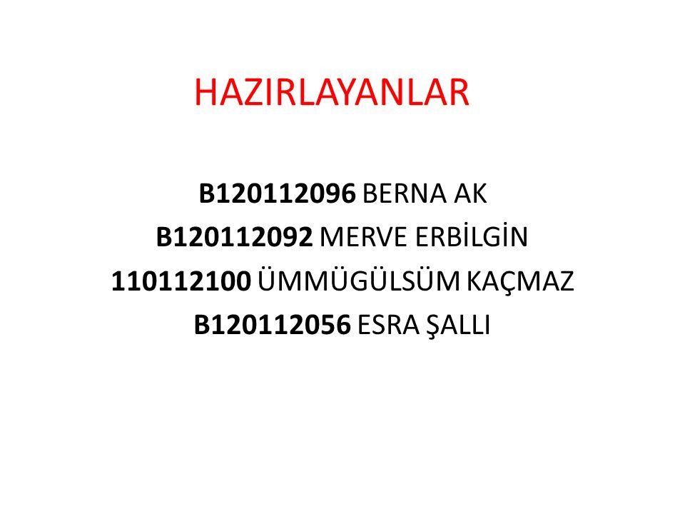 HAZIRLAYANLAR B120112096 BERNA AK B120112092 MERVE ERBİLGİN 110112100 ÜMMÜGÜLSÜM KAÇMAZ B120112056 ESRA ŞALLI