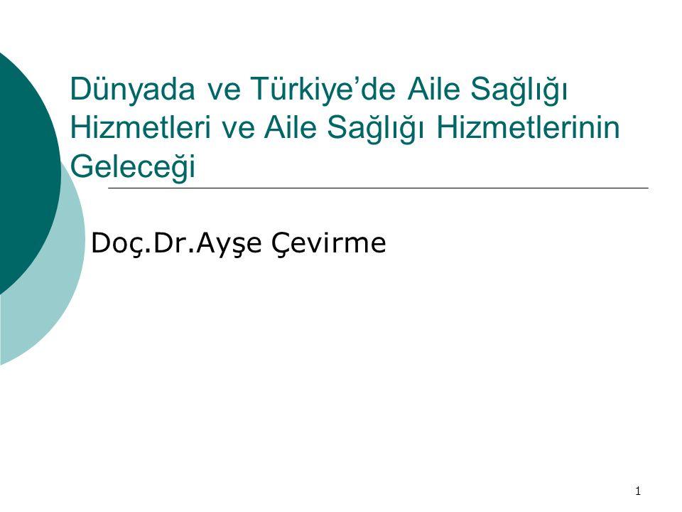 1 Dünyada ve Türkiye'de Aile Sağlığı Hizmetleri ve Aile Sağlığı Hizmetlerinin Geleceği Doç.Dr.Ayşe Çevirme