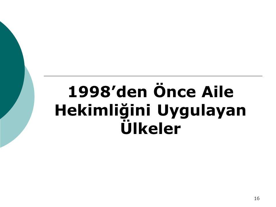 16 1998'den Önce Aile Hekimliğini Uygulayan Ülkeler