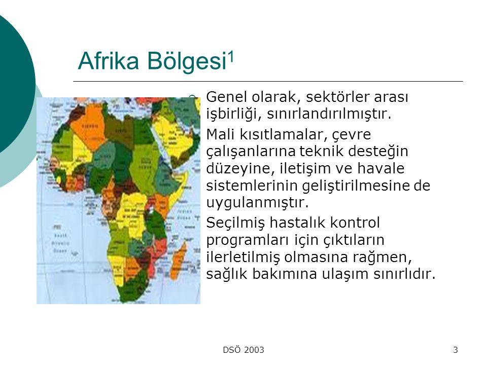 DSÖ 20033 Afrika Bölgesi 1  Genel olarak, sektörler arası işbirliği, sınırlandırılmıştır.  Mali kısıtlamalar, çevre çalışanlarına teknik desteğin dü