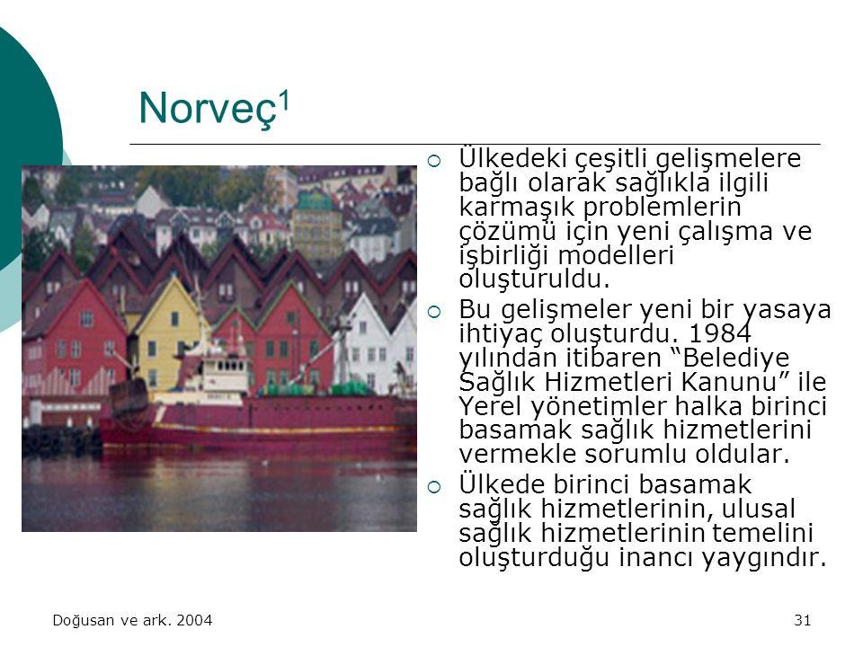 Doğusan ve ark. 200431 Norveç 1  Ülkedeki çeşitli gelişmelere bağlı olarak sağlıkla ilgili karmaşık problemlerin çözümü için yeni çalışma ve işbirliğ