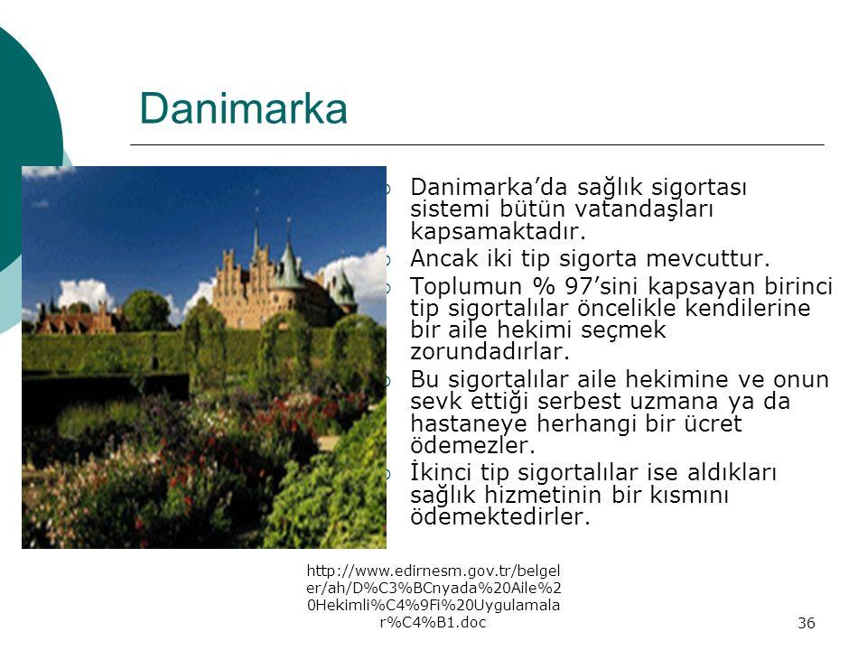 http://www.edirnesm.gov.tr/belgel er/ah/D%C3%BCnyada%20Aile%2 0Hekimli%C4%9Fi%20Uygulamala r%C4%B1.doc36 Danimarka  Danimarka'da sağlık sigortası sis