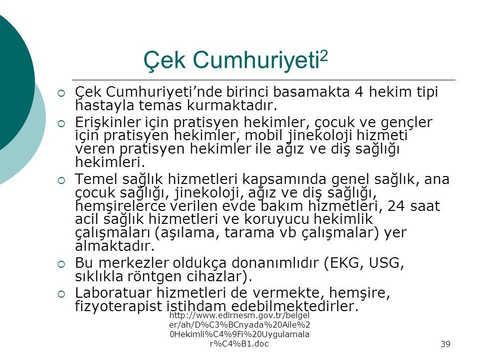 http://www.edirnesm.gov.tr/belgel er/ah/D%C3%BCnyada%20Aile%2 0Hekimli%C4%9Fi%20Uygulamala r%C4%B1.doc39 Çek Cumhuriyeti 2  Çek Cumhuriyeti'nde birin