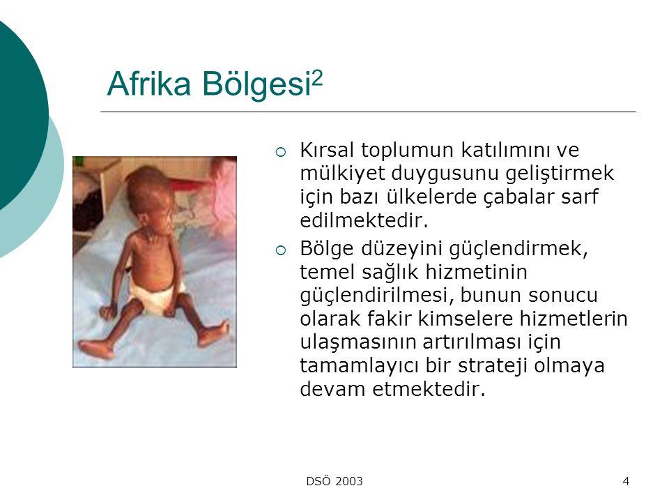 DSÖ 20034 Afrika Bölgesi 2  Kırsal toplumun katılımını ve mülkiyet duygusunu geliştirmek için bazı ülkelerde çabalar sarf edilmektedir.  Bölge düzey