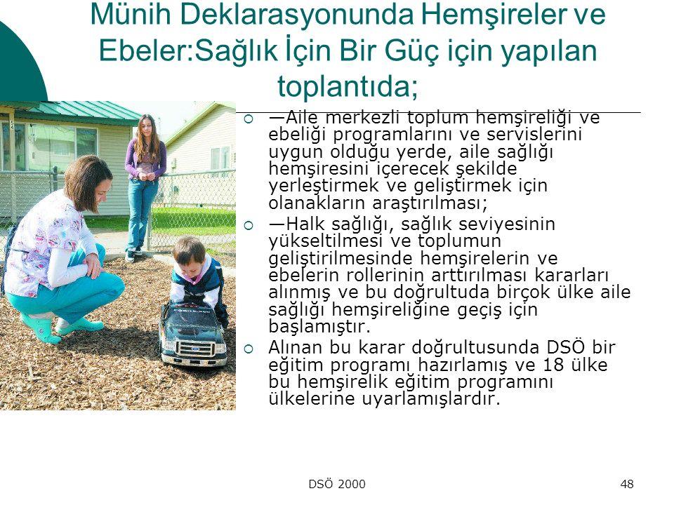 DSÖ 200048 Münih Deklarasyonunda Hemşireler ve Ebeler:Sağlık İçin Bir Güç için yapılan toplantıda;  —Aile merkezli toplum hemşireliği ve ebeliği prog