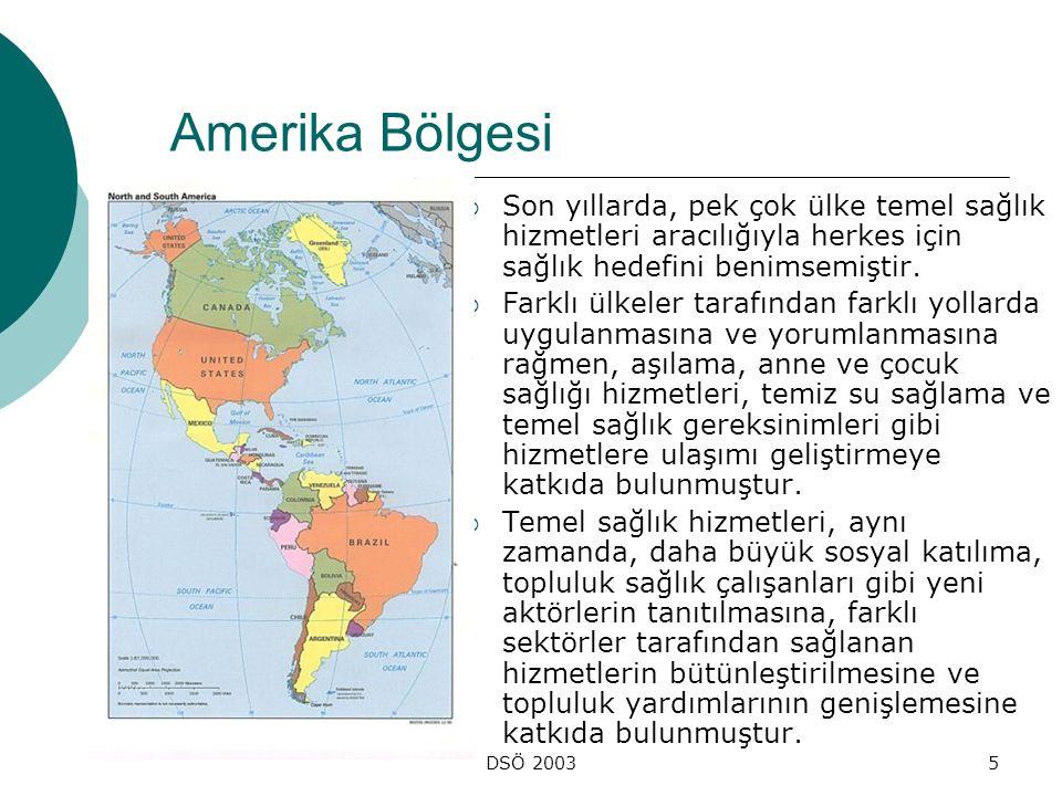 DSÖ 20035 Amerika Bölgesi  Son yıllarda, pek çok ülke temel sağlık hizmetleri aracılığıyla herkes için sağlık hedefini benimsemiştir.  Farklı ülkele