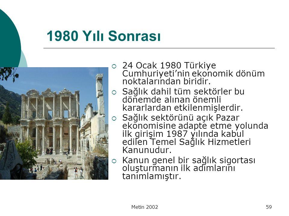 Metin 200259 1980 Yılı Sonrası  24 Ocak 1980 Türkiye Cumhuriyeti'nin ekonomik dönüm noktalarından biridir.  Sağlık dahil tüm sektörler bu dönemde al