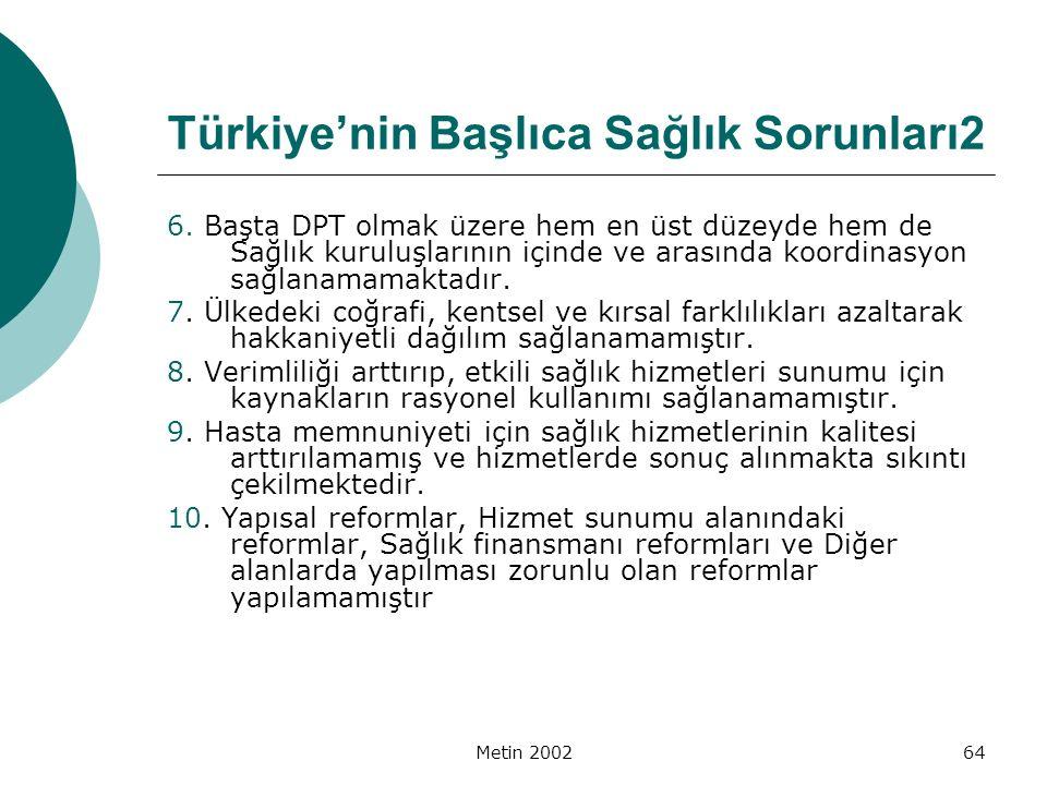 Metin 200264 Türkiye'nin Başlıca Sağlık Sorunları2 6. Başta DPT olmak üzere hem en üst düzeyde hem de Sağlık kuruluşlarının içinde ve arasında koordin