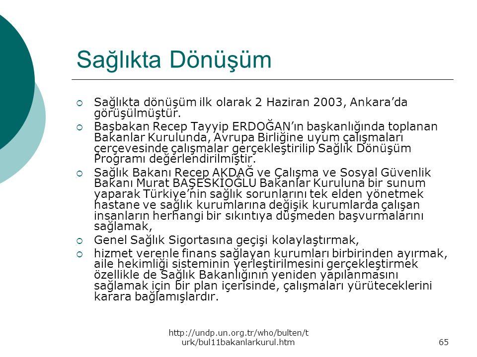 http://undp.un.org.tr/who/bulten/t urk/bul11bakanlarkurul.htm65 Sağlıkta Dönüşüm  Sağlıkta dönüşüm ilk olarak 2 Haziran 2003, Ankara'da görüşülmüştür