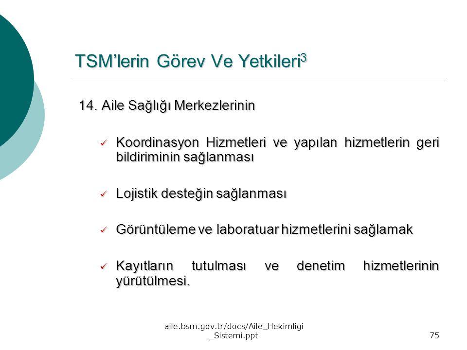 aile.bsm.gov.tr/docs/Aile_Hekimligi _Sistemi.ppt75 TSM'lerin Görev Ve Yetkileri 3 14. Aile Sağlığı Merkezlerinin 14. Aile Sağlığı Merkezlerinin Koordi