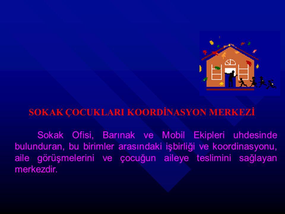 SOKAK ÇOCUKLARI KOORDİNASYON MERKEZİ Sokak Ofisi, Barınak ve Mobil Ekipleri uhdesinde bulunduran, bu birimler arasındaki işbirliği ve koordinasyonu, a