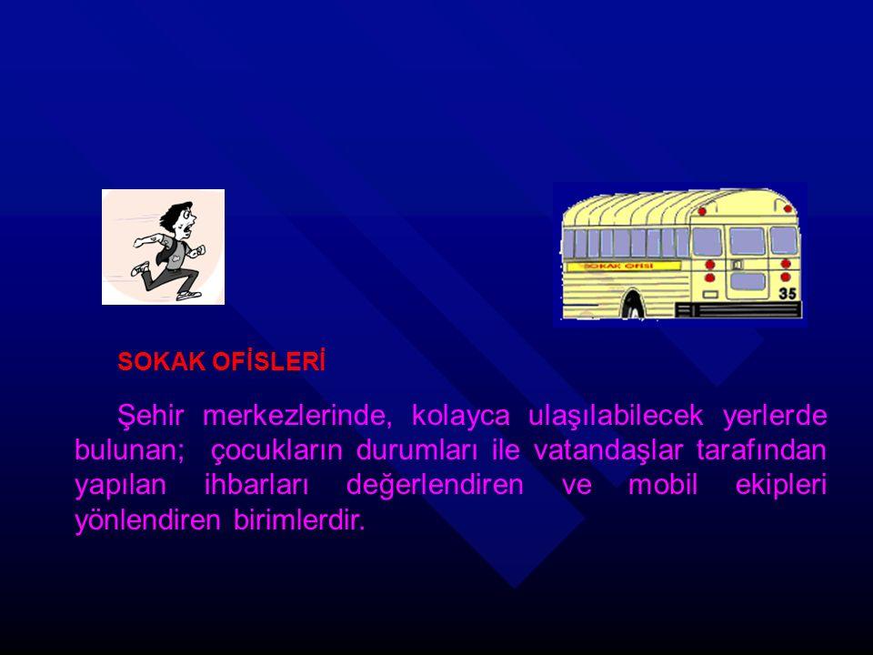 SOKAK OFİSLERİ Şehir merkezlerinde, kolayca ulaşılabilecek yerlerde bulunan; çocukların durumları ile vatandaşlar tarafından yapılan ihbarları değerlendiren ve mobil ekipleri yönlendiren birimlerdir.