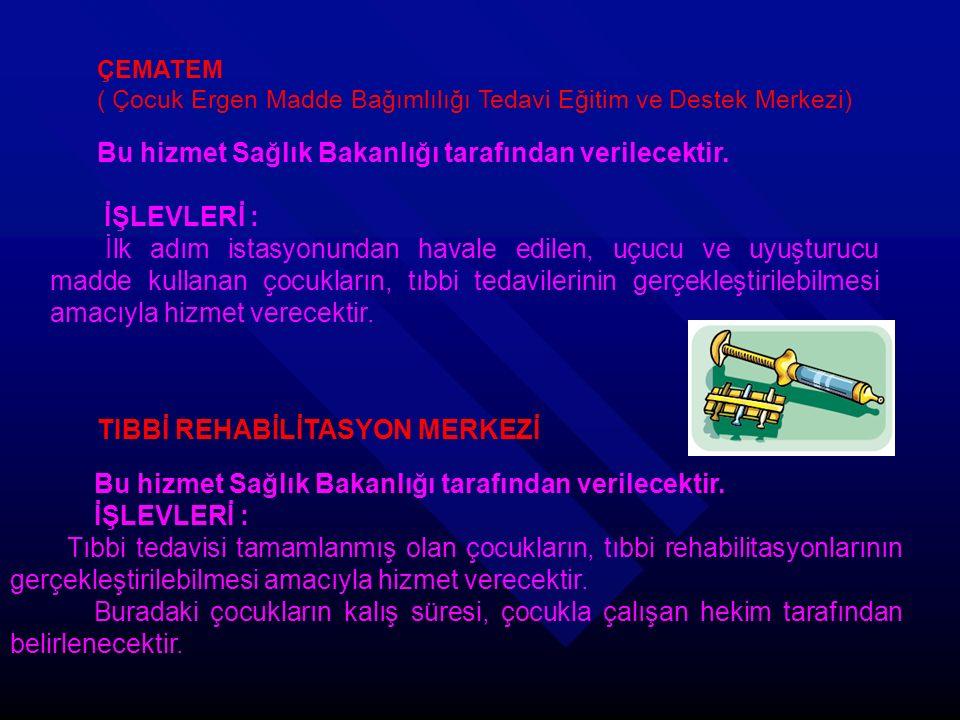 ÇEMATEM ( Çocuk Ergen Madde Bağımlılığı Tedavi Eğitim ve Destek Merkezi) Bu hizmet Sağlık Bakanlığı tarafından verilecektir.