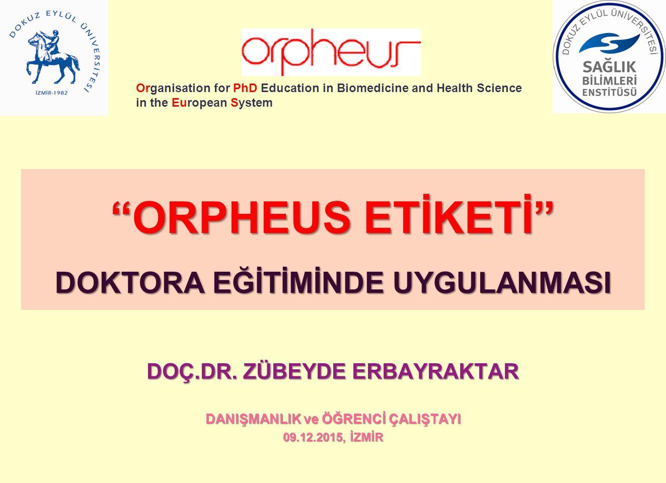 ORPHEUS ve AVRUPA DOKTORA VİZYONU Dokuz Eylül Üniversitesi Sağlık Bilimleri Enstitüsü ORPHEUS ETİKETİ almaya hak kazanmış olan ilk Türk Üniversitesidir.