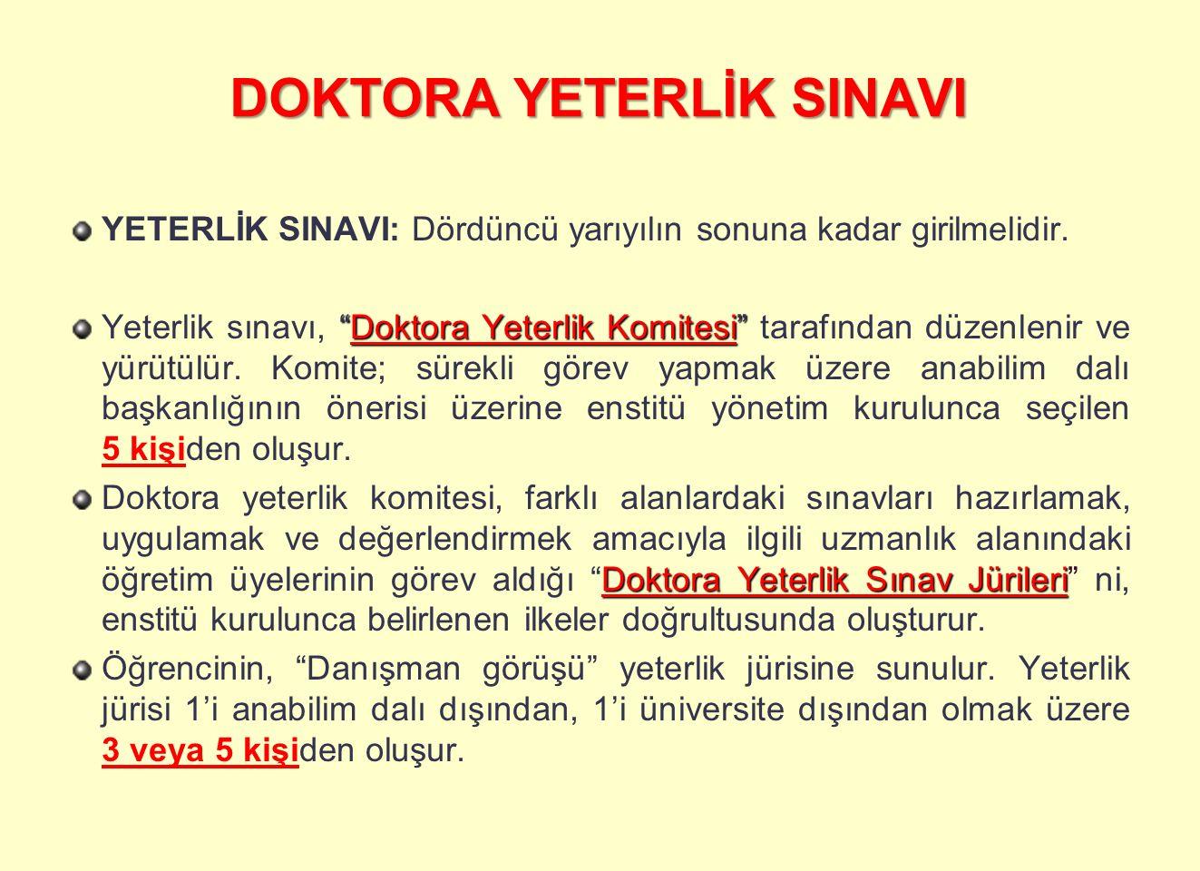 """DOKTORA YETERLİK SINAVI YETERLİK SINAVI: Dördüncü yarıyılın sonuna kadar girilmelidir. """"Doktora Yeterlik Komitesi"""" Yeterlik sınavı, """"Doktora Yeterlik"""