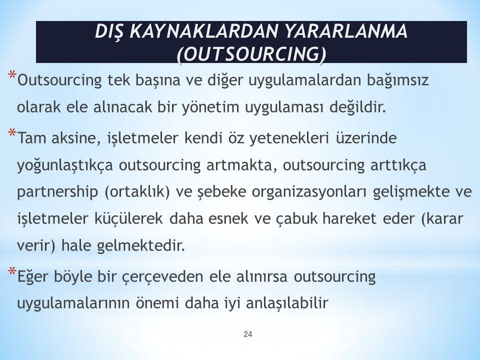 * Outsourcing tek başına ve diğer uygulamalardan bağımsız olarak ele alınacak bir yönetim uygulaması değildir. * Tam aksine, işletmeler kendi öz yeten