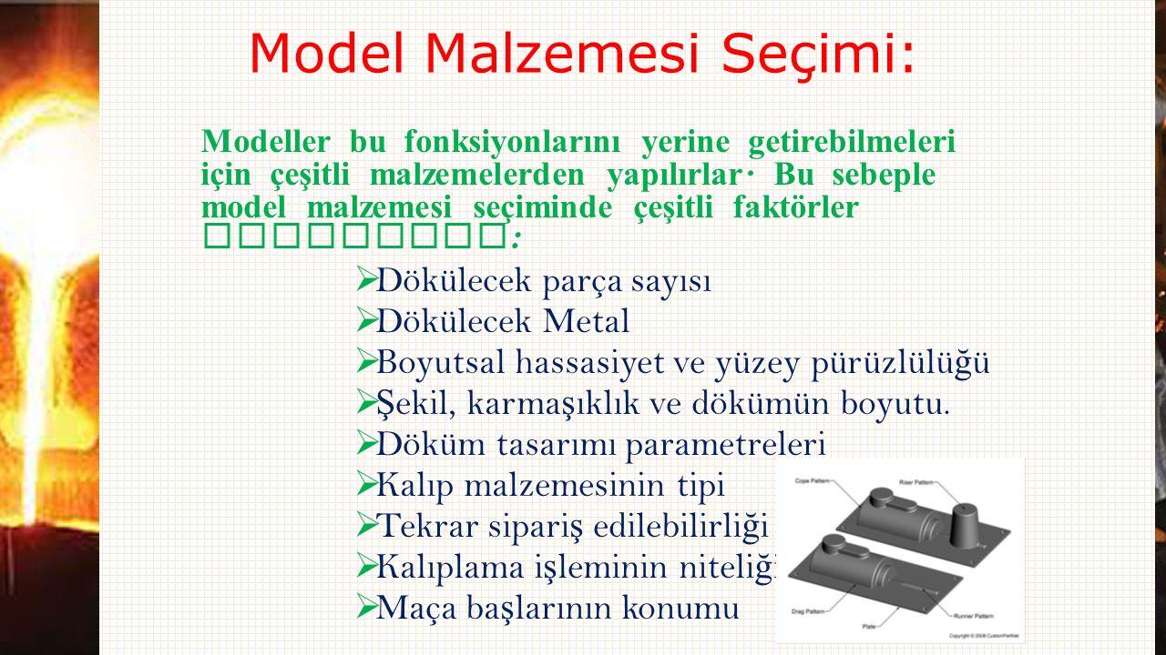Model Malzemesi Seçimi: Modeller bu fonksiyonlarını yerine getirebilmeleri için çeşitli malzemelerden yapılırlar. Bu sebeple model malzemesi seçiminde