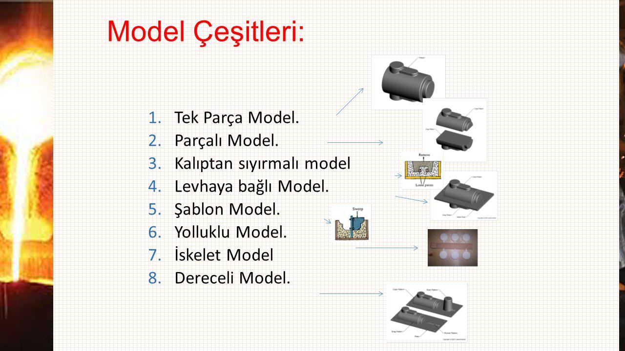 Model Çeşitleri: 1.Tek Parça Model. 2.Parçalı Model. 3.Kalıptan sıyırmalı model 4.Levhaya bağlı Model. 5.Şablon Model. 6.Yolluklu Model. 7.İskelet Mod