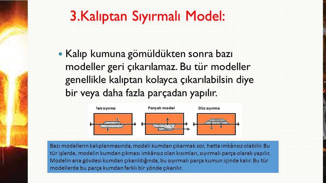 3.Kalıptan Sıyırmalı Model: Kalıp kumuna gömüldükten sonra bazı modeller geri çıkarılamaz. Bu tür modeller genellikle kalıptan kolayca çıkarılabilsin