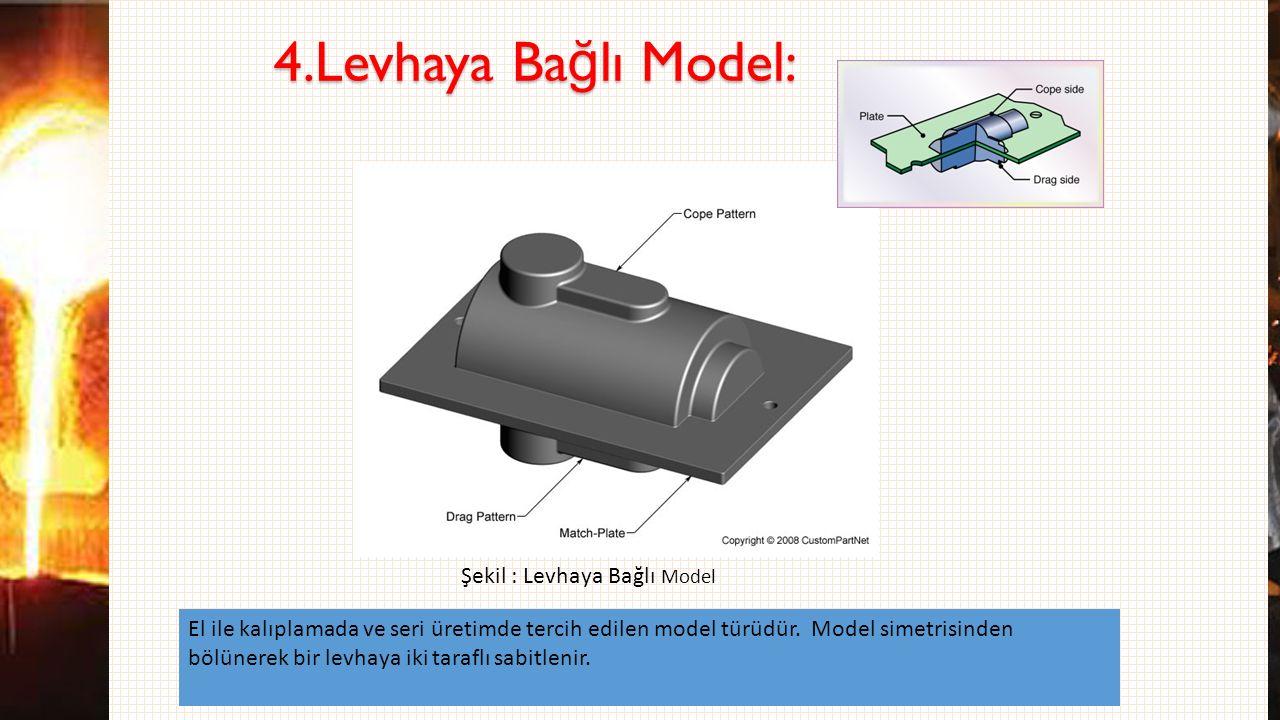 4.Levhaya Ba ğ lı Model: El ile kalıplamada ve seri üretimde tercih edilen model türüdür. Model simetrisinden bölünerek bir levhaya iki taraflı sabitl