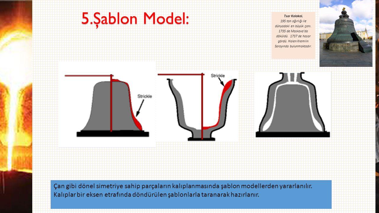 5.Şablon Model: Çan gibi dönel simetriye sahip parçaların kalıplanmasında şablon modellerden yararlanılır. Kalıplar bir eksen etrafında döndürülen şab