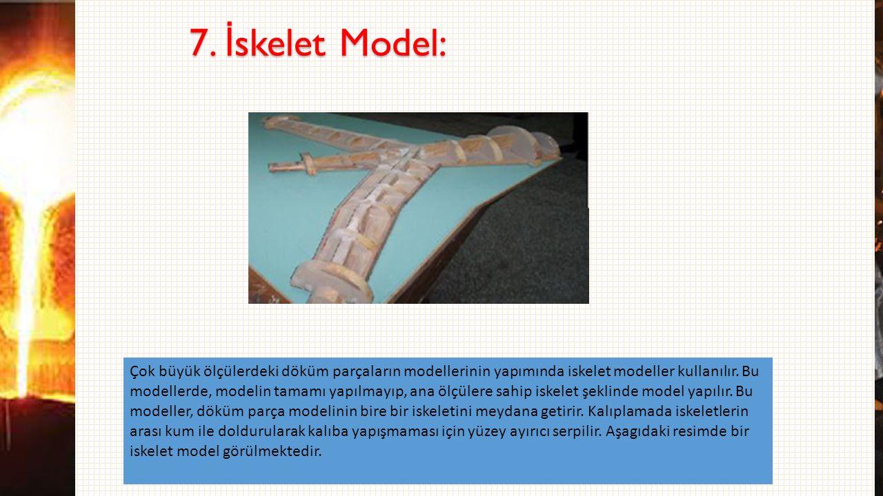 7. İ skelet Model: Çok büyük ölçülerdeki döküm parçaların modellerinin yapımında iskelet modeller kullanılır. Bu modellerde, modelin tamamı yapılmayıp