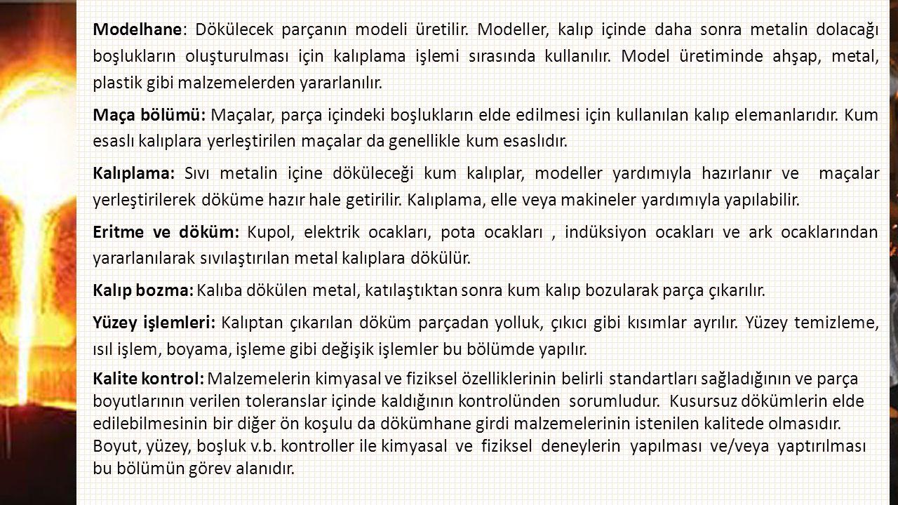 Modelhane: Dökülecek parçanın modeli üretilir. Modeller, kalıp içinde daha sonra metalin dolacağı boşlukların oluşturulması için kalıplama işlemi sıra