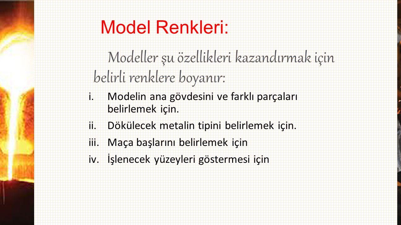 Model Renkleri: Modeller şu özellikleri kazandırmak için belirli renklere boyanır: i.Modelin ana gövdesini ve farklı parçaları belirlemek için. ii.Dök