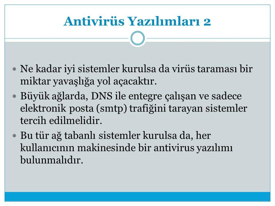Antivirüs Yazılımları 2 Ne kadar iyi sistemler kurulsa da virüs taraması bir miktar yavaşlığa yol açacaktır.