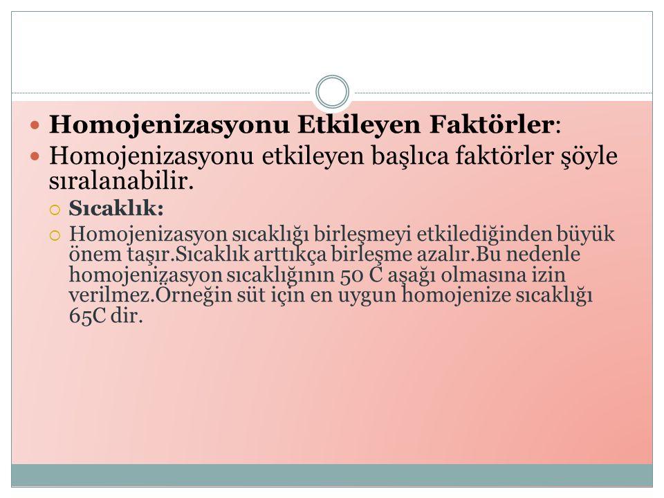 Homojenizasyonu Etkileyen Faktörler: Homojenizasyonu etkileyen başlıca faktörler şöyle sıralanabilir.
