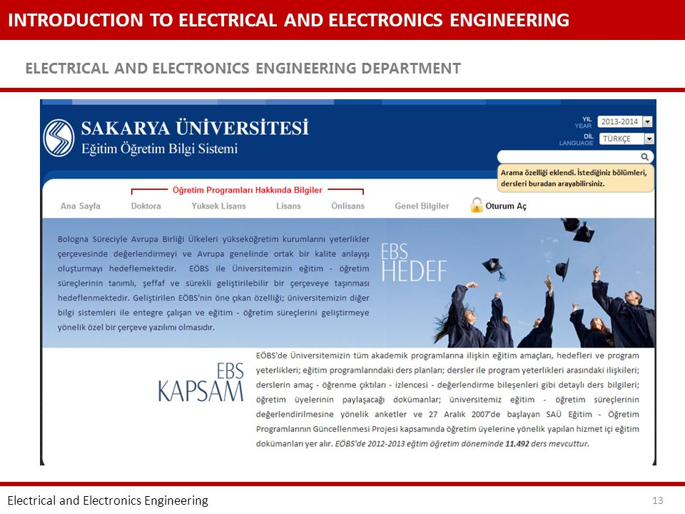 INTRODUCTION TO ELECTRICAL AND ELECTRONICS ENGINEERING ELECTRICAL AND ELECTRONICS ENGINEERING DEPARTMENT 13 Electrical and Electronics Engineering