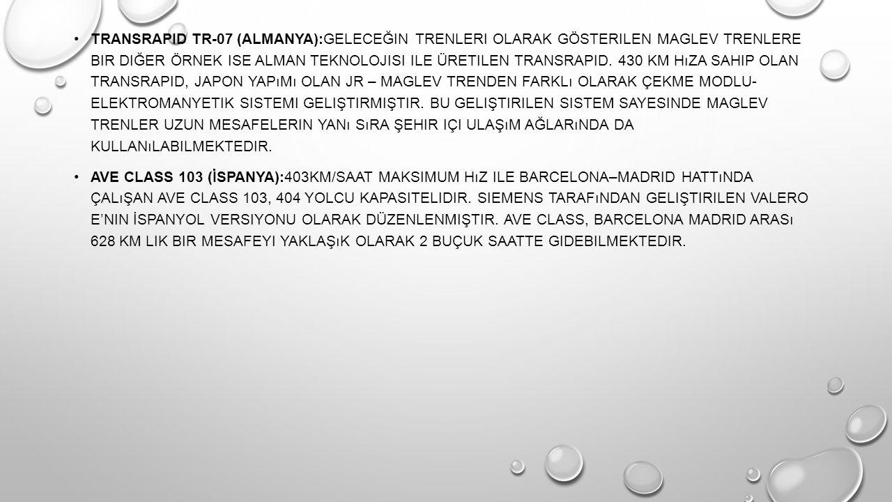 TRANSRAPID TR-07 (ALMANYA):GELECEĞIN TRENLERI OLARAK GÖSTERILEN MAGLEV TRENLERE BIR DIĞER ÖRNEK ISE ALMAN TEKNOLOJISI ILE ÜRETILEN TRANSRAPID.