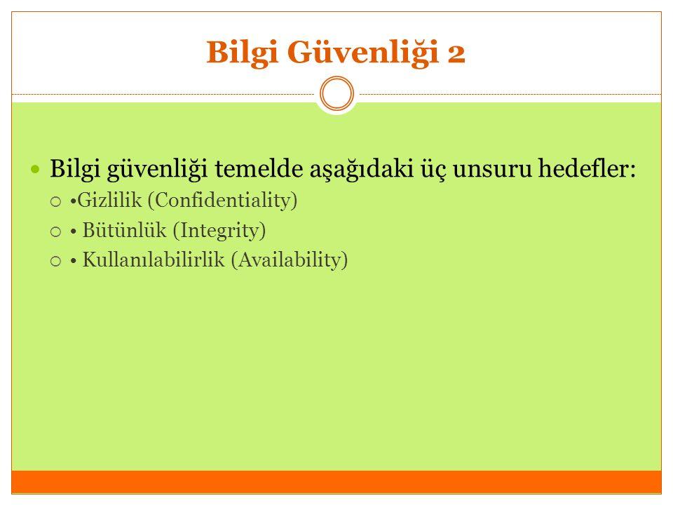 Bilgi Güvenliği 2 Bilgi güvenliği temelde aşağıdaki üç unsuru hedefler:  Gizlilik (Confidentiality)  Bütünlük (Integrity)  Kullanılabilirlik (Availability)