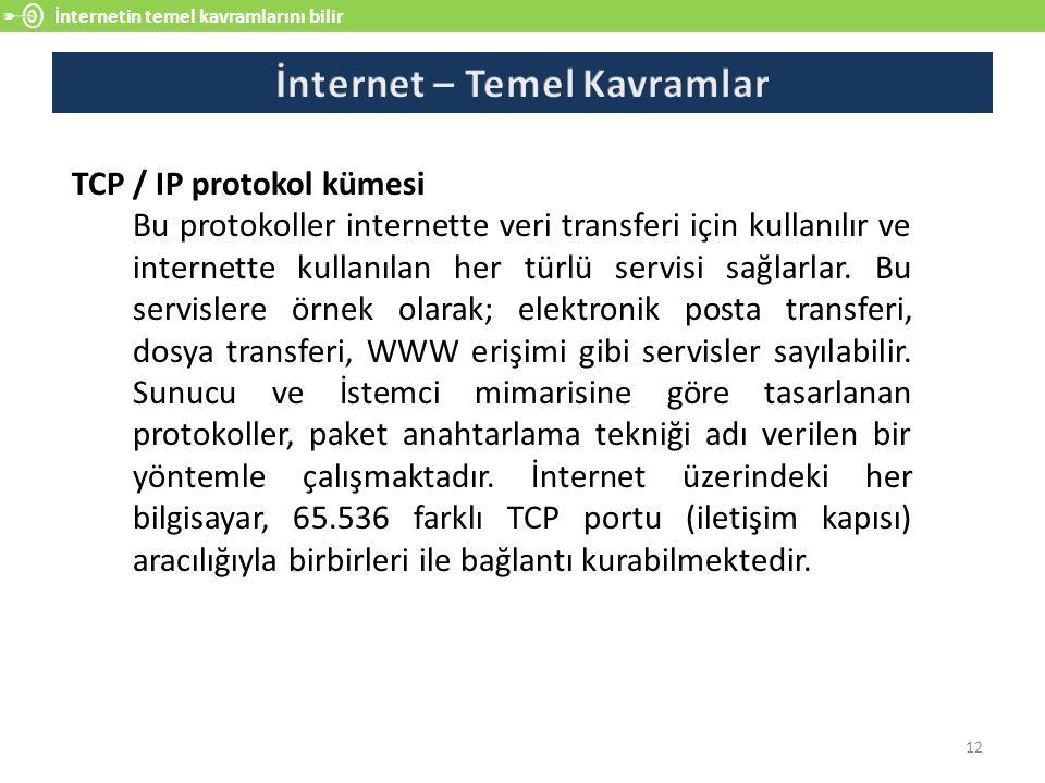 İnternetin temel kavramlarını bilir 12 TCP / IP protokol kümesi Bu protokoller internette veri transferi için kullanılır ve internette kullanılan her