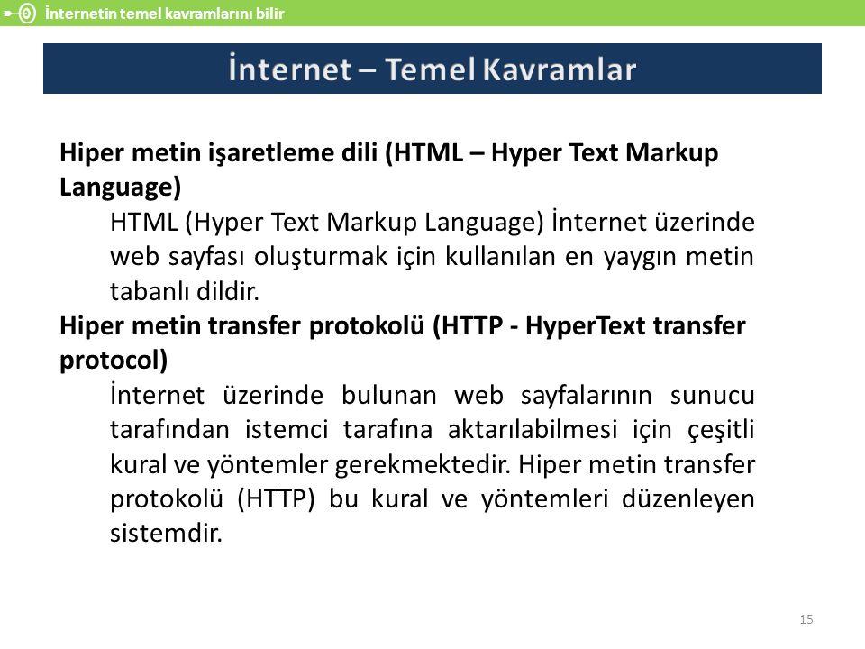İnternetin temel kavramlarını bilir 15 Hiper metin işaretleme dili (HTML – Hyper Text Markup Language) HTML (Hyper Text Markup Language) İnternet üzerinde web sayfası oluşturmak için kullanılan en yaygın metin tabanlı dildir.