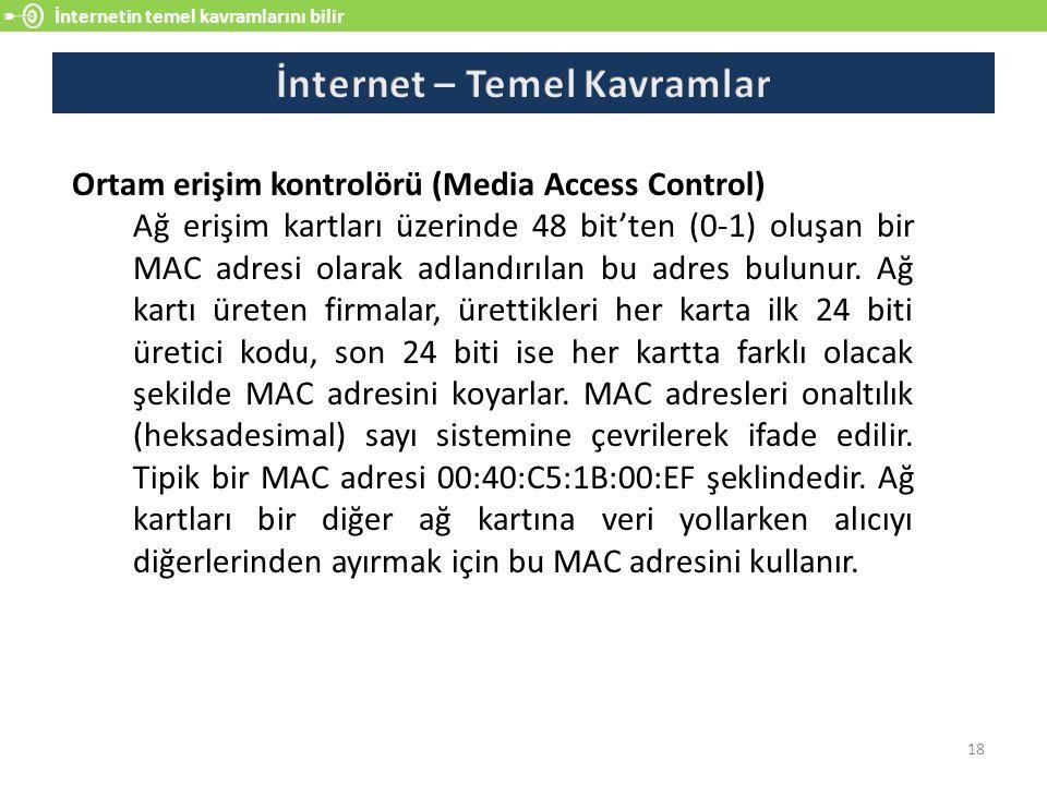 İnternetin temel kavramlarını bilir 18 Ortam erişim kontrolörü (Media Access Control) Ağ erişim kartları üzerinde 48 bit'ten (0-1) oluşan bir MAC adresi olarak adlandırılan bu adres bulunur.