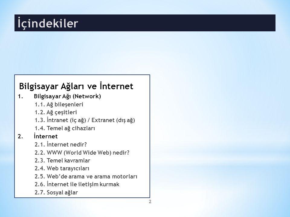 Bilgisayar Ağları ve İnternet 1.Bilgisayar Ağı (Network) 1.1. Ağ bileşenleri 1.2. Ağ çeşitleri 1.3. İntranet (iç ağ) / Extranet (dış ağ) 1.4. Temel ağ